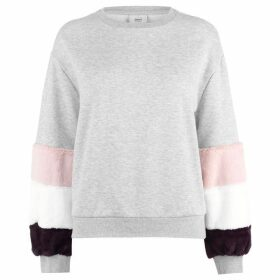 Only Saga Faux Fur Sleeve Sweater