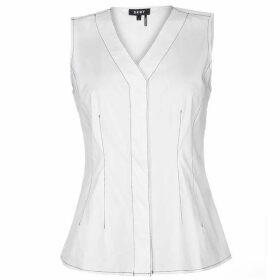 DKNY Stitched V Neck Sleeveless Shirt