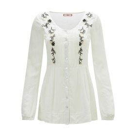 Embroidered Round Neck Long-Sleeved Blouse