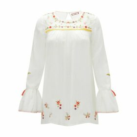 Embroidered Round Neck Blouse with Long Ruffled Sleeves
