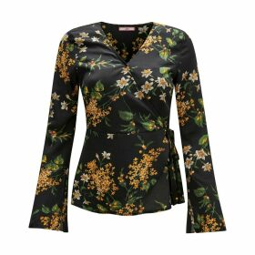 Floral Print Wrapover Blouse
