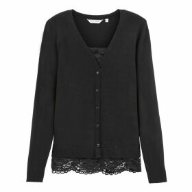 Lace Trim V-Neck Cardigan