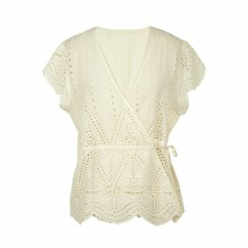 Broderie Anglaise Wrapover Blouse