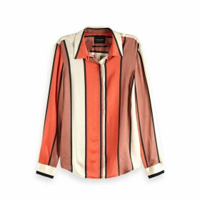 Striped Draping Long-Sleeved Shirt