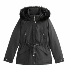 Short Showerproof Winter Parka with Faux Fur Hood and Pockets