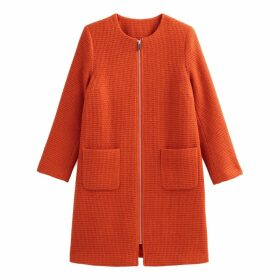 Collarless Straight Coat with Pockets