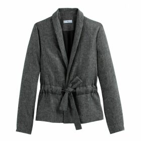Linen Mix Single-Breasted Fitted Blazer with Tie-Waist