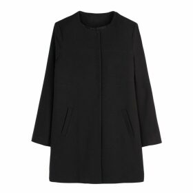 Lightweight Collarless Straight Coat with Pockets