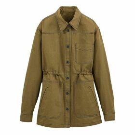 Cotton Utility Safari Jacket with Drawstring Waist