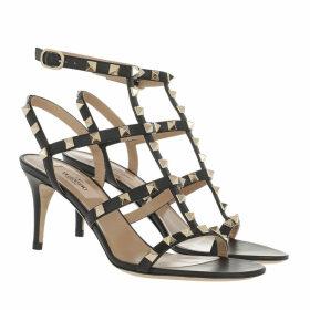 Valentino Sandals - Rockstud Sandal Leather Red Black - black - Sandals for ladies