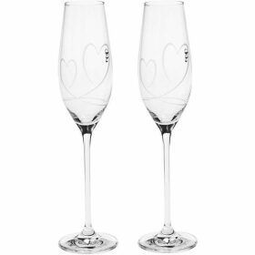 Linea Angelina Two Hearts Toasting Flute Set of 2
