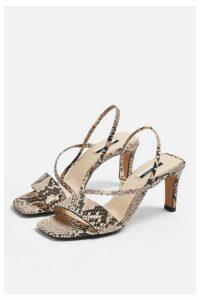Womens Nettle Leather Snake Strap Sling Back Heels - Natural, Natural