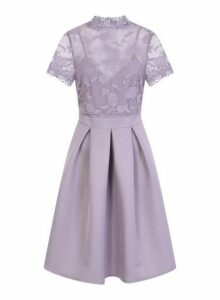 Womens **Little Mistress Lilac Embroidered Trim Dress, Lilac