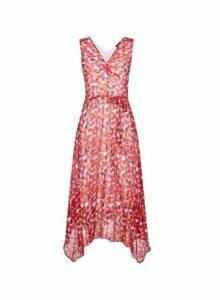 Womens Rose Print Sleeveless Midi Dress - Red, Red