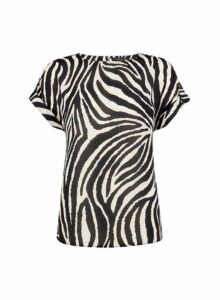 Womens Black Zebra Print T-Shirt, Black