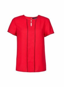 Womens **Red Decorative Trim Top- Red, Red