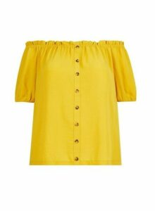Womens **Dp Curve Yellow Bardot Top- Orange, Orange