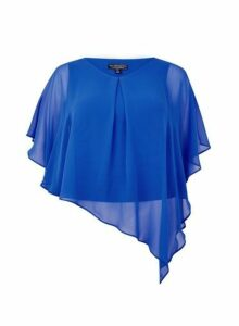 Womens Billie & Blossom Curve Cobalt Short Sleeve Overlay Top - Blue, Blue