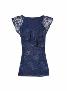 Womens Navy Frill Front Lace T-Shirt - Blue, Blue