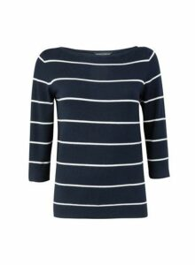Womens Navy Striped Jumper - Blue, Blue