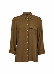 Womens Khaki Utility Shirt With Linen, Khaki