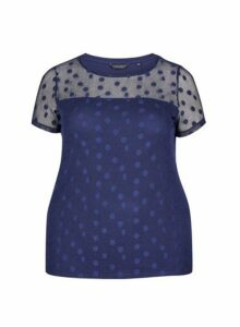 Womens **Dp Curve Navy Spotted Lace Top - Blue, Blue