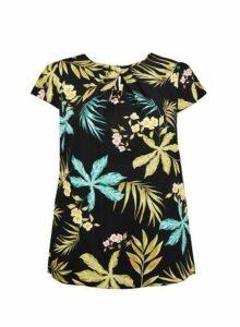 Womens **Billie & Blossom Curve Palm Print Short Sleeve Shell Top- Black, Black