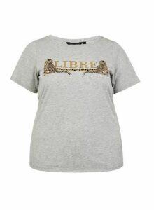 Womens Dp Curve Grey 'Libre' Motif T-Shirt, Grey