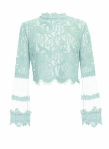 Womens *Quiz Mint Lace Mesh Crop Top, Mint