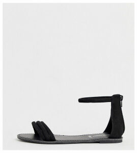 London Rebel wide fit tubular flat sandals-Black