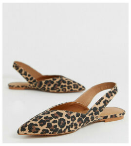 ASOS DESIGN Wide Fit Leisure high vamp slingback ballet flats in leopard-Multi