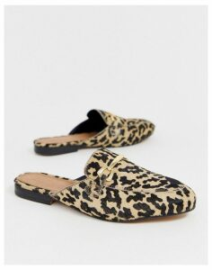 ASOS DESIGN Moves leather mules in leopard-Multi