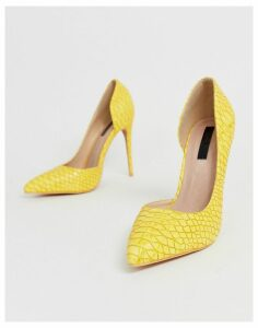 Lost Ink Gigi heeled court shoe in yellow