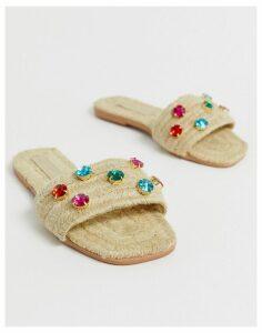 ASOS DESIGN Jayme gem embellished espadrille sandals-Beige