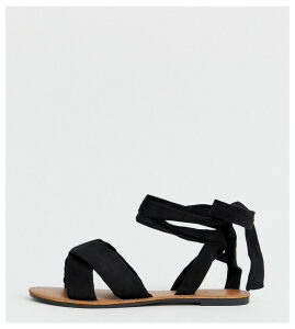 Park Lane wide fit tie leg flat sandal-Black