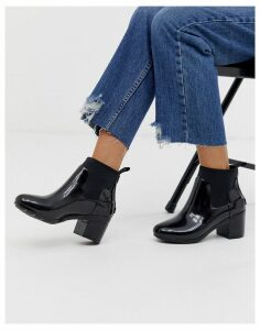 Hunter mid heel glossy chelsea welly boot in black
