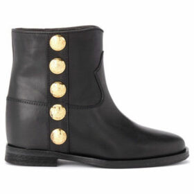 Via Roma 15  ankle boot in black leather with golden details  women's Low Ankle Boots in Black