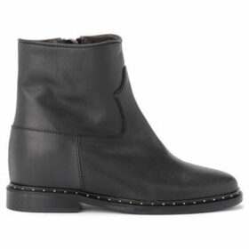 Via Roma 15  Rome 15 leather ankle boots with applied micro-studs  women's Low Ankle Boots in Black