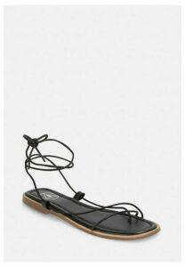 Black Skinny Strap Flat Sandals, Black