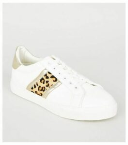 White Leopard Print Leather Stripe Trainers New Look