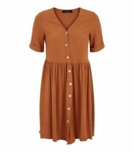 Rust Linen Look Button Up Smock Dress New Look