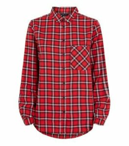 Red Tartan Check Long Sleeve Shirt New Look