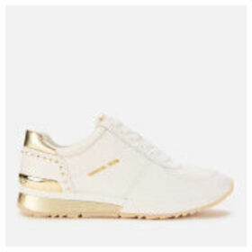 MICHAEL MICHAEL KORS Women's Allie Leather Wrap Runner Style Trainers - Optic/Pale Gold - UK 7/US 10 - Beige