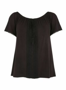 Black Crochet Detail Gypsy Top, Black
