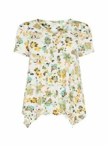 Ivory Floral Print Pintuck Top, Ivory