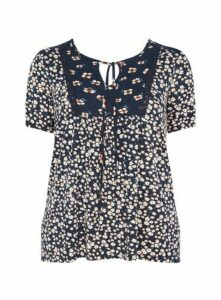Navy Blue Floral Print Crochet Detail Top, Navy