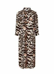 Brown Tiger Print Dress, Black