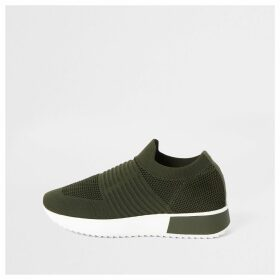 River Island Womens Khaki knit runner trainers