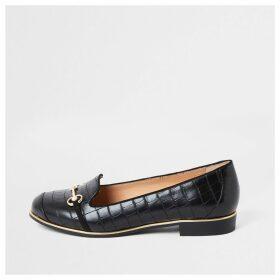 River Island Womens Black snaffle trim loafers