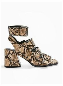 Womens Storm Multi Colour Buckle Flared Heel Sandals, Natural